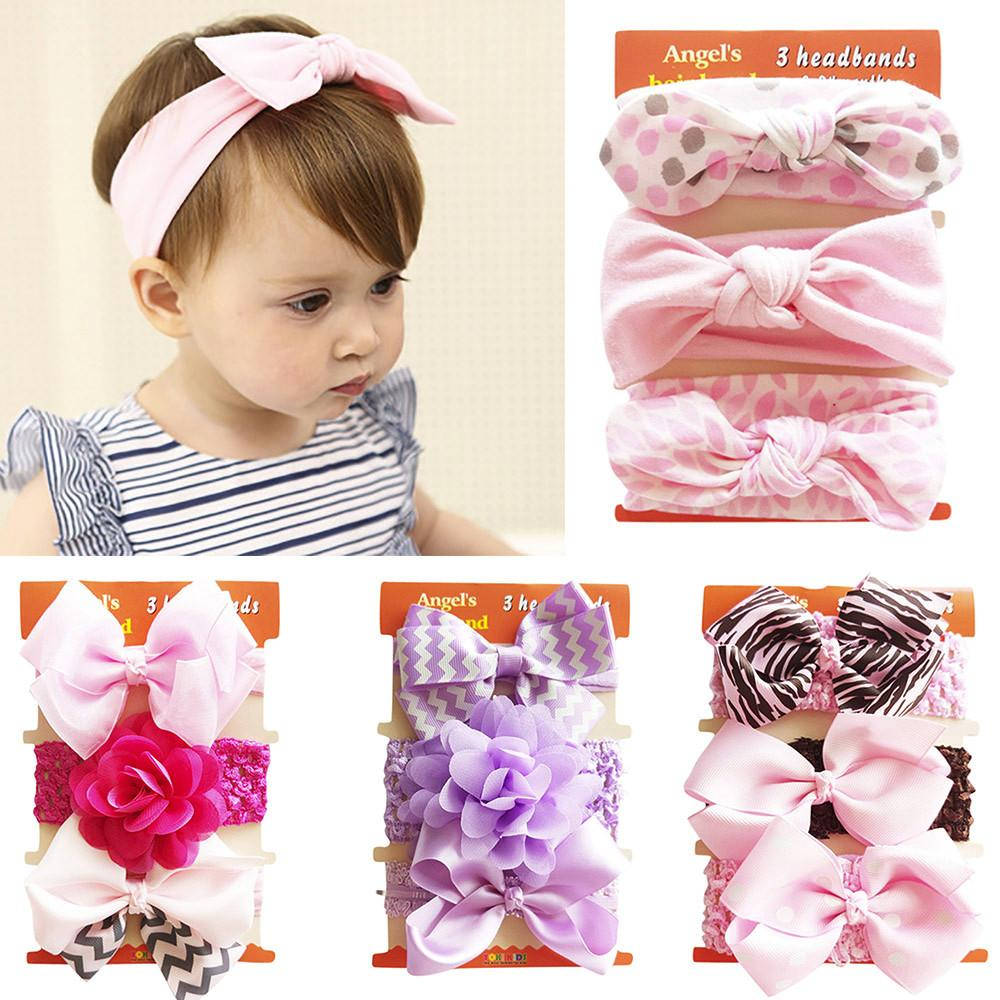 Baby Headband Girls Bowknot Flower Hair Band Accessories Baby Polyester Headwear Cute Dot Elastic Kids Hair Accessories Hair Accessories
