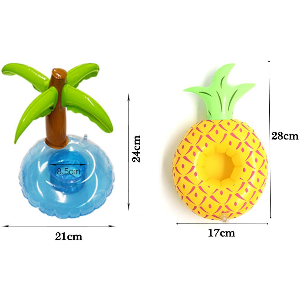 Tronzo Floating Inflatable Drink Can Call Phone Holder Pineapple Coconut Trees PVC Beach Pool Toy For Birthday Party Decorations