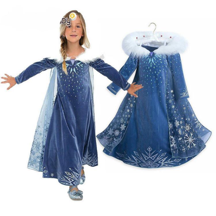2957ed4f279624 Acquista Costumi Movie Ragazze Blu Frozen Princess Dress Snow Queen Inverno  Manica Lunga Gonna Natale Halloween Cosplay Festa Di Compleanno Abiti  Mantello A ...