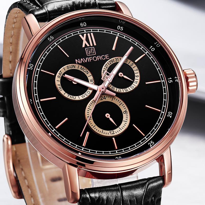 c910b31a67f Compre Top Marca NAVIFORCE Dos Homens Moda Criativa De Quartzo Relógio De  Pulso Pulseira De Couro Esporte Relógios Luminous Hands Clock Relogio  Masculino De ...