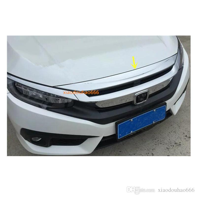 For Honda Civic 10th Sedan 2016 2017 2018 car styling ABS Chrome front engine Machine grille upper hood sticker lid trim frame 1pcs