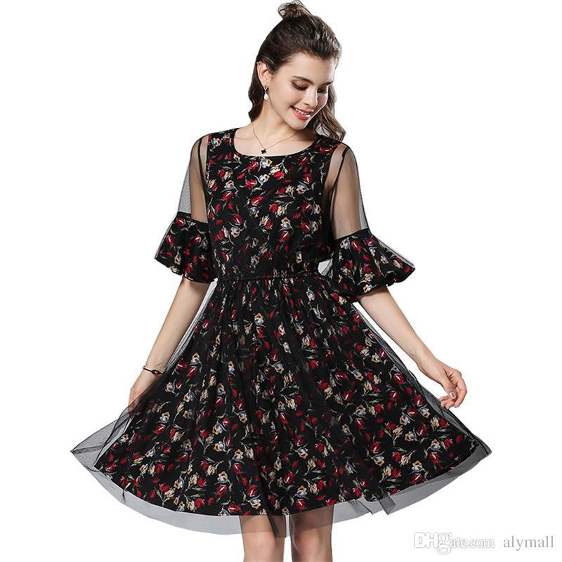 Plus Size 4xl 5xl Dresses For Women 2018 Summer Dress Floral Print ... 210e3464d934