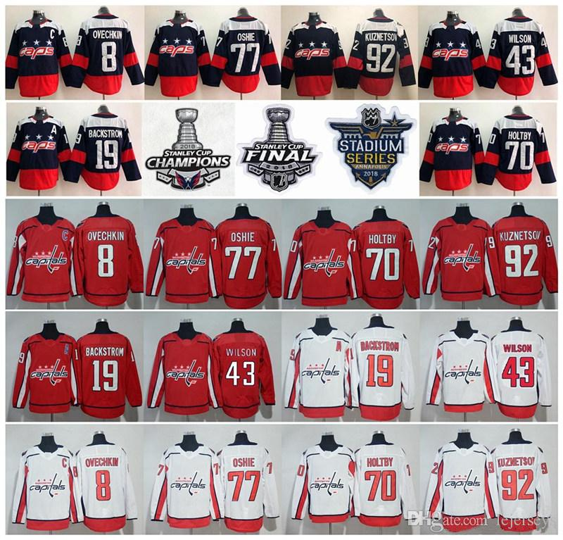 26fe21ace 2018 Stanley Cup Champions Washington Capitals 8 Alex Ovechkin T.J. Oshie Nicklas  Backstrom Braden Holtby Evgeny Kuznetsov Tom Wilson Jersey UK 2019 From ...