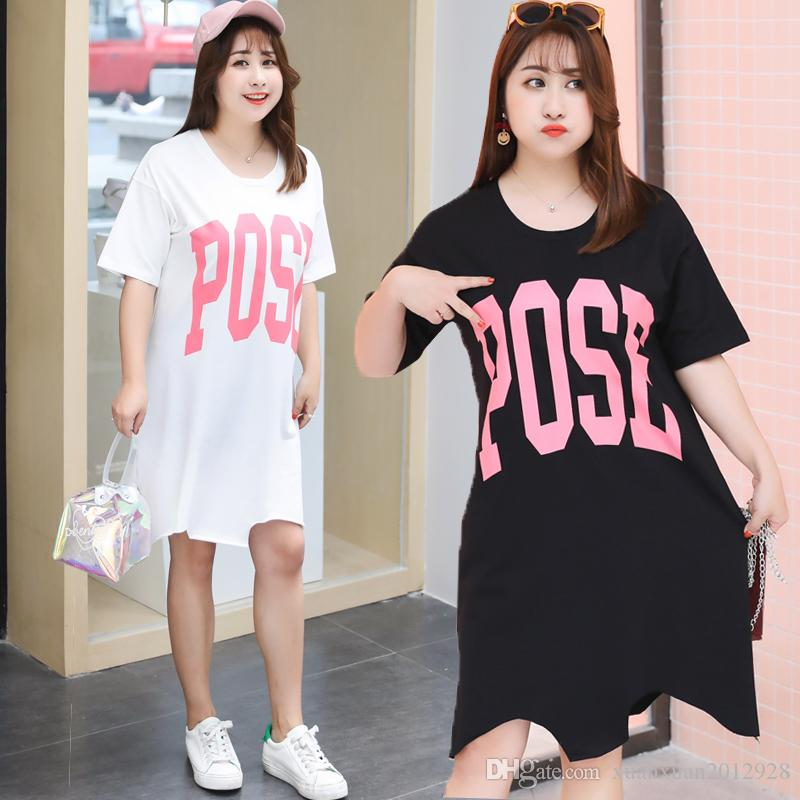 d1b8e1d530bb Foreign Air Big Code Women S Dress Summer Dress 2018 New Fat Mm Medium Long  Style Easy To Reduce Age T Shirt Fashionable Short Sleeve.