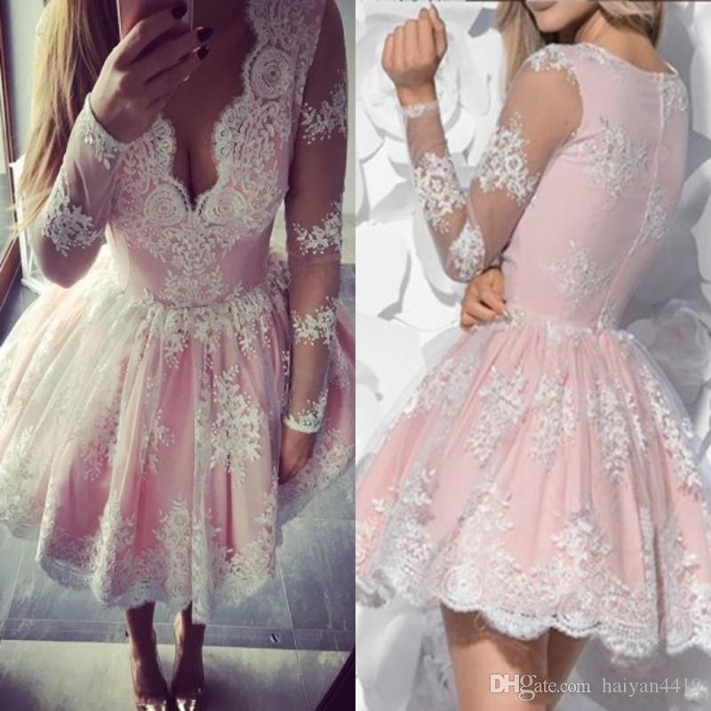 b5d44c7c76 2018 Cheap Short Mini Baby Pink A Line Cocktail Dresses Party V Neck White  Lace Applique Long Sleeves Zipper Back Prom Homecoming Gowns Green Cocktail  Dress ...