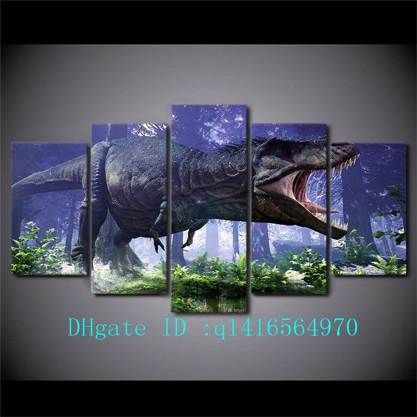 2018 Jurassic Park Dinosaurs,Canvas Prints Wall Art Oil Painting ...