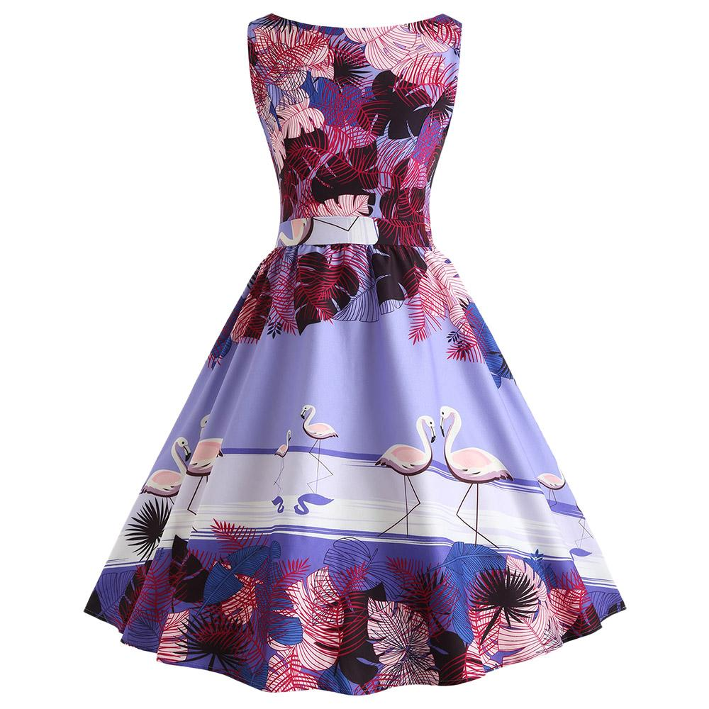 8d8f652fe167 Wipalo Women Sleeveless O Neck Dress High Waist Floral Print Flamingo Bow A  Line Swing Dress Vintage Pinup Rockabilly Vestidos Dresses For Parties  Elegant ...