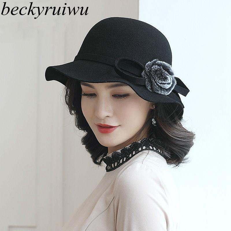 d2d51c7f Beckyruiwu Lady Banquet Party Formal Flower Fedora Hats Women Pure ...