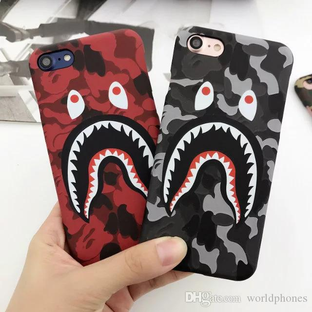buy popular c7e41 36622 Fashion Cool High Quality Shark Case For Iphone 6 7 plus Shark Cartoon case  TPU Phone Case Cover For Iphone 8 X
