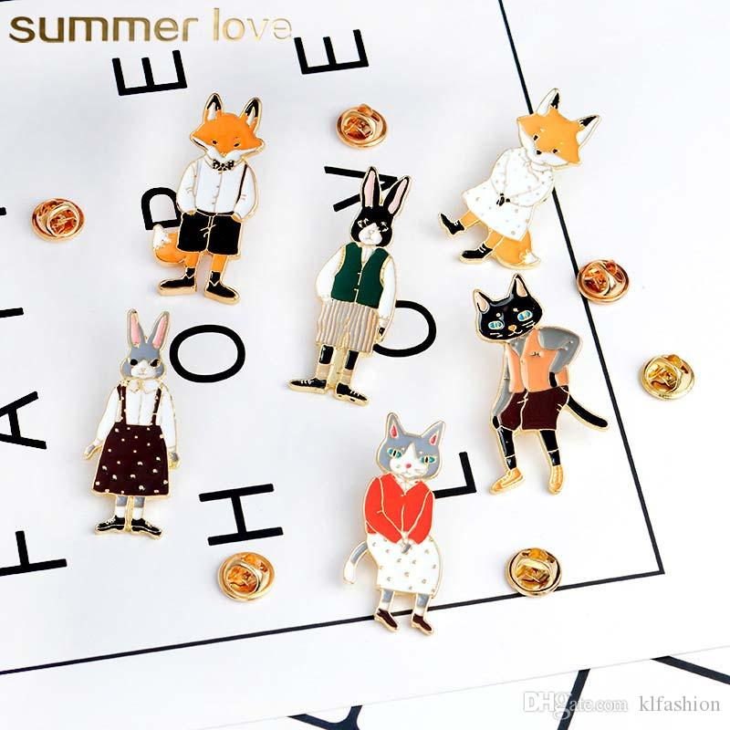 Hot Sale Cute Cat Fox Original Brooch Pin for Women Kids Drop Oil Armband Clothes Collar Needle Brooch Lovely Jewelry Charm