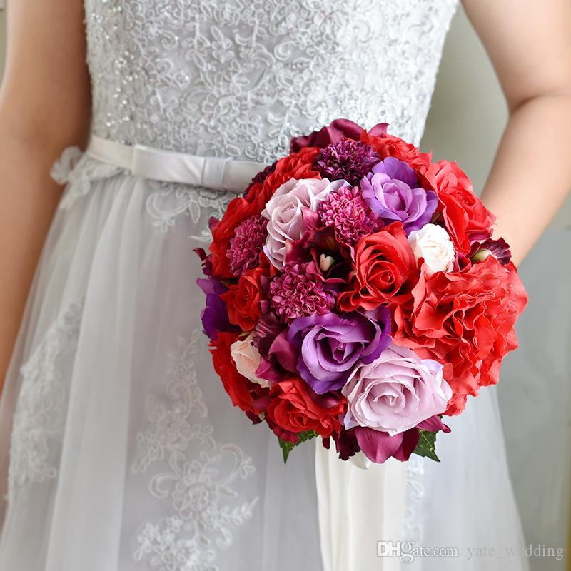 Gül Kristal Düğün Buket Mor Pembe Kırmızı Gümüş Çiçekler Gelin Buketi Nedime Düğün Aksesuarları En Kaliteli