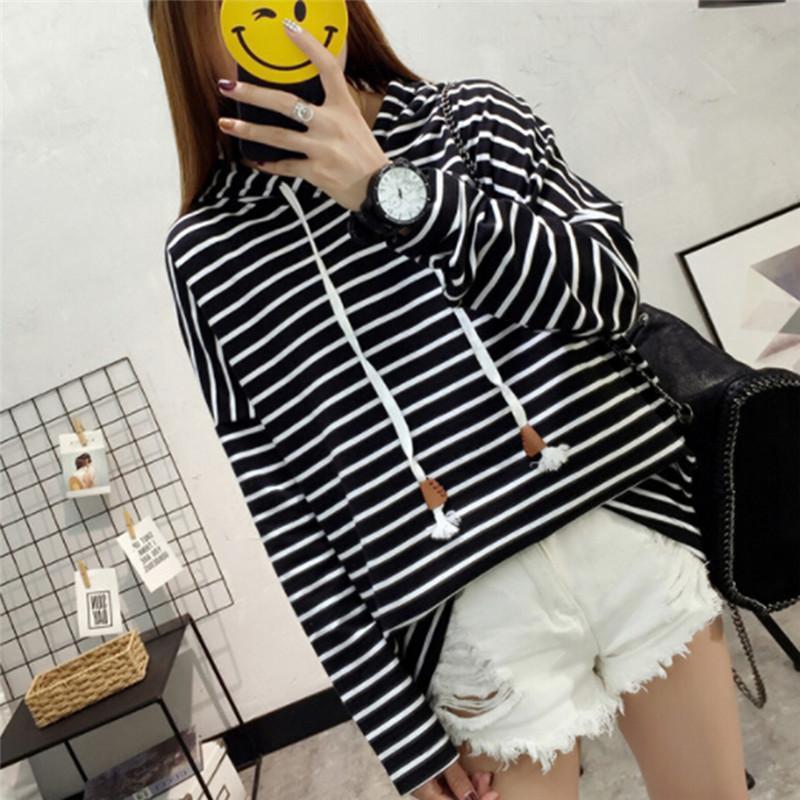 1bd032a15f05 2019 Black White Striped Women Casual Long Sleeve Hoodie Sweatshirt Outfit  Streetwear Girls Tops Shirts From Masue
