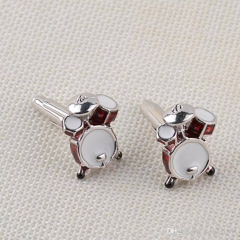 Gemelli della chitarra del tamburo dell'amante di musica dei gioielli degli uomini i collegamenti di polsino di progettazione del metallo di modo accessorio della camicia degli uomini