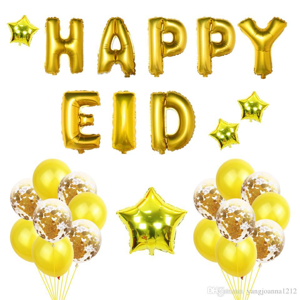 12inch Happy Eid Aluminum Balloon Kit Confetti Transparent Balloon