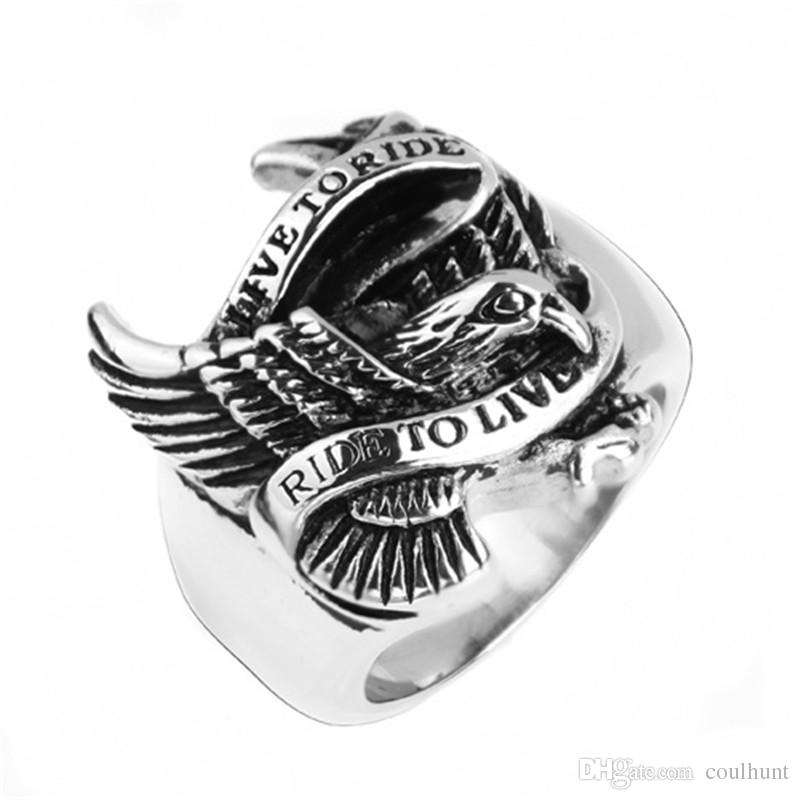 316L Stainless Steel Men Biker Rings HIP HOP Punk Gothic Stainless Steel Men Live to Ride Biker Motorcycle Eagle Rings Fashion Jewelry