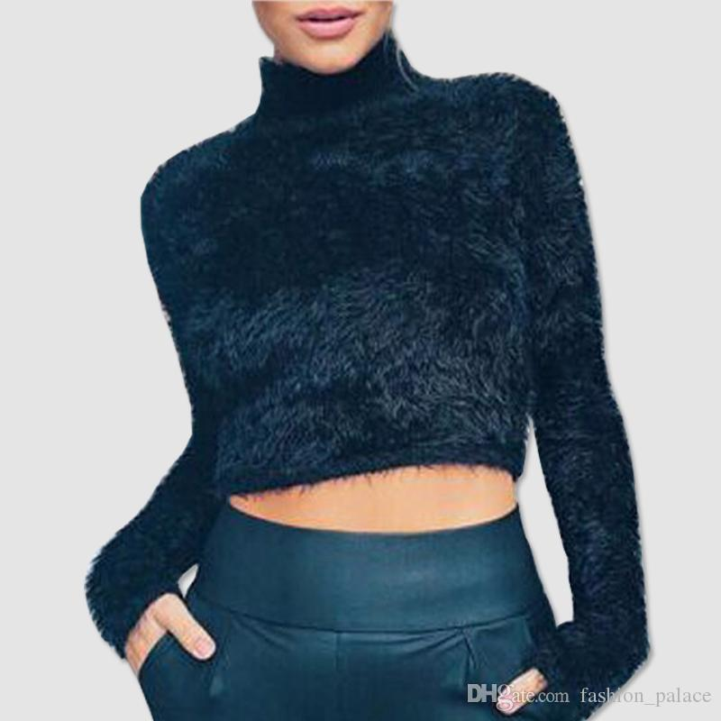70e094b75f31 2019 Women S Fluffy Mohair Knit Crop Top Sweater Jumper Junior Girls Sexy  Autumn Winter Long Sleeve Knitwear Club Tops DZG0102 From Fashion palace