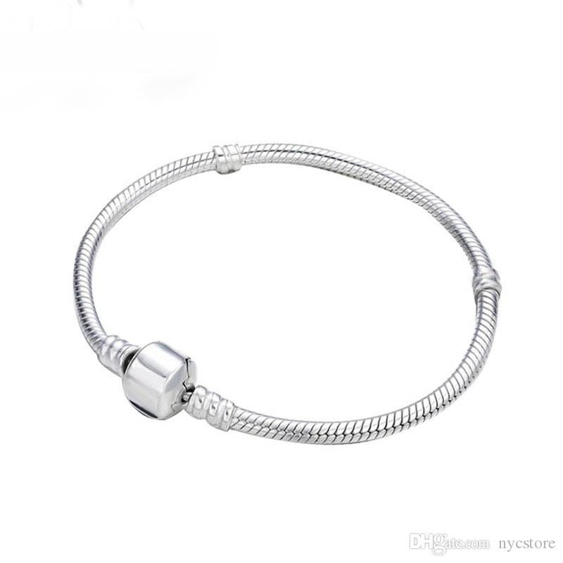 89390122f Great Quality Wholesale 925 Sterling Silver Bracelets 3mm Snake Chain Fit  Pandora Charm Bead Bangle Bracelet Jewelry Gift For Men Women Wholesale  Charms 9ct ...