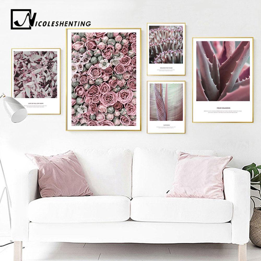Acheter Rose Fleur Plante Mur Art Imprimer Nordic Toile Affiche Floral  Peinture Scandinave Photo Décorative Moderne Salon Décor De $34.47 Du  Huojuhua ...