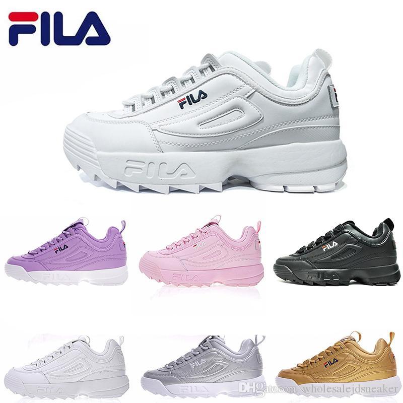6311e2bbceb Acheter Fila Chaussures De Course Pour Homme Femme II FELE Noir Chaussures  Décontractées Blanc Sand Gris Or II 2 S Femmes Hommes FILE Sports Sneaker  De ...