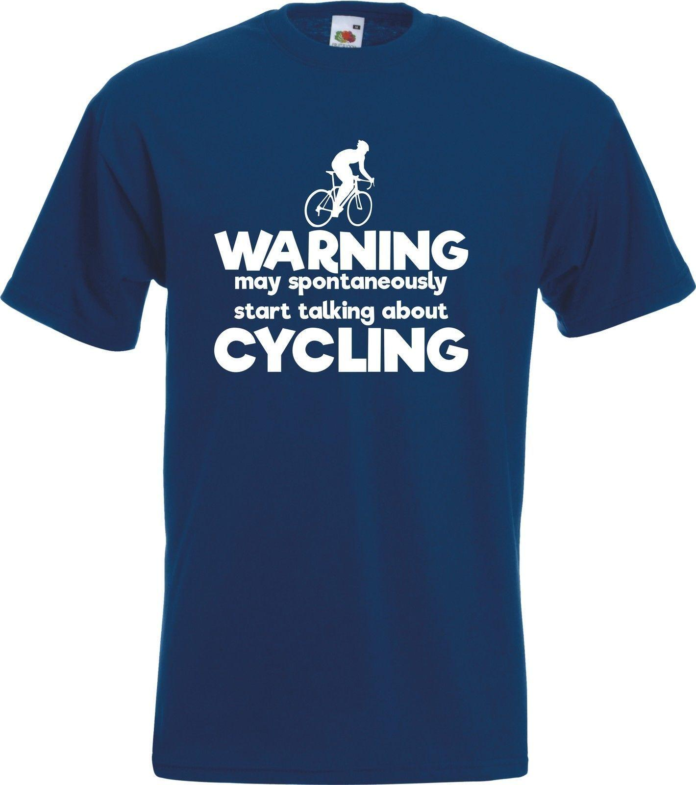 Warning May Start Talking About Cycling TShirt Funny Road Biker Cyclist Gift Mens 2018 fashion Brand T Shirt O-Neck 100%cotton