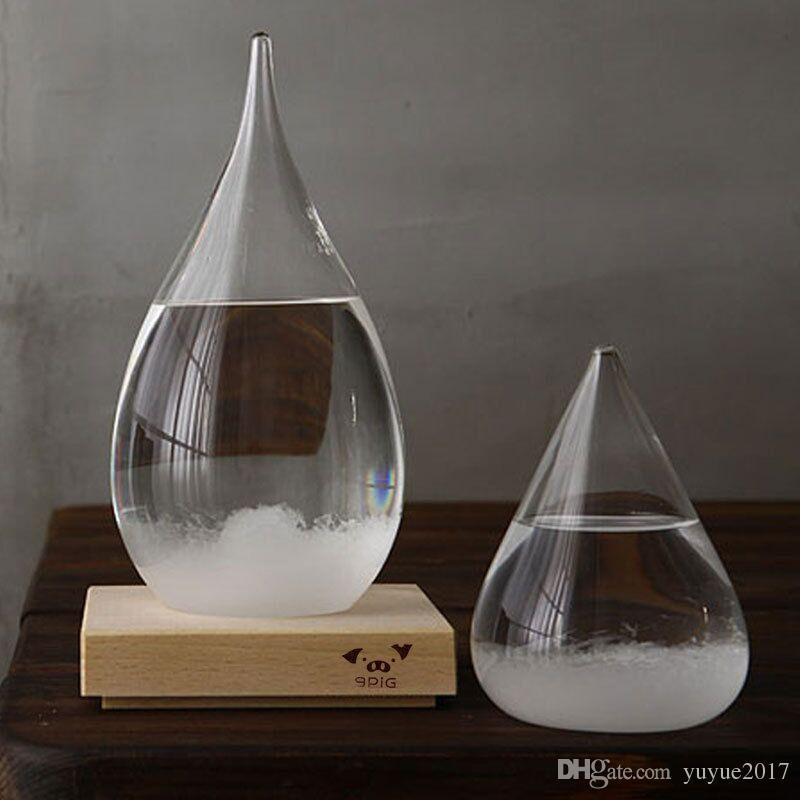 Wettervorhersage Crystal Tempo 17.5 * 8cm Tropfen Wasser Form Storm Glas Wetter Predictor Flasche Weihnachten Handwerk Kunst Geschenke