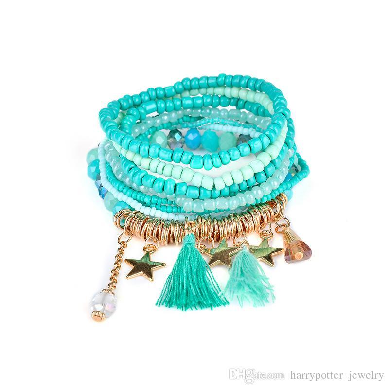 Semilla de múltiples capas de la borla de perlas de cinco estrellas brazaletes de las pulseras Strand Stretch Pulsera de la amistad de las mujeres hip hop nave de la gota de la joyería