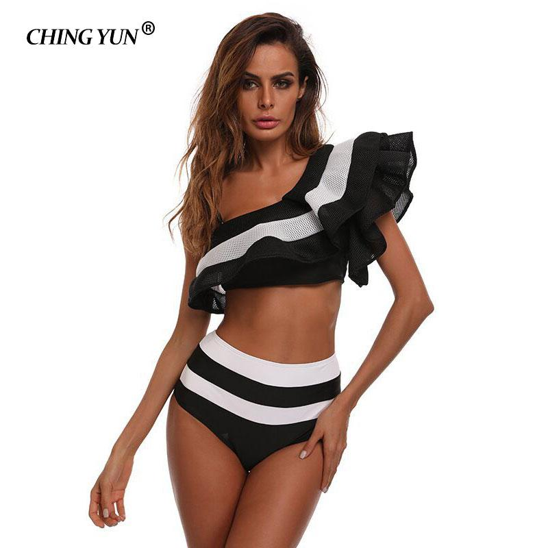 e41b45da63978 2019 2018 Sexy Bikini High Waist Swimsuit Ruffle Swimwear Women Striped  Biquini Swim Bathing Suit Off Shoulder Swimwear Bikinis Women From  Chenhanyang163