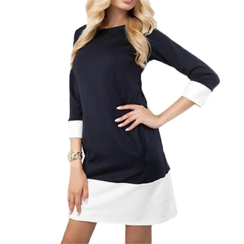 e2fbd96b44 Compre Damas Color Block Casual Mini Vestidos Nuevo Otoño Negro Blanco  Patchwork O Cuello Camisa De Manga Tres Cuartos Vestido De Mujer KH824582 A   25.37 ...