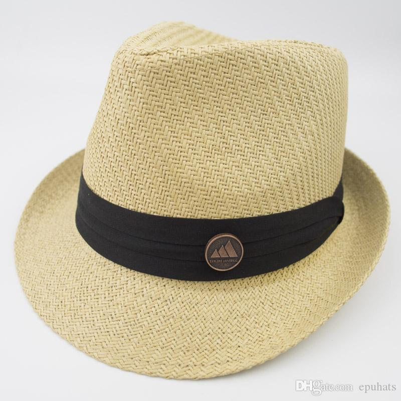 28cbf8563ab Stingy Brim Man And Woman Breathing Straw Fedora Hat Ladies Street ...
