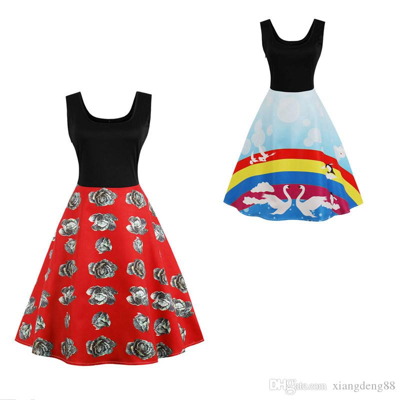 267e91352b863 Summer Womens Rainbow Print Sleeveless A Line Slim Dress Retro Vintage 50s  Ladies Rockabilly Evening Party Plus Size Dress S 4XL Floral Cocktail Dress  Women ...
