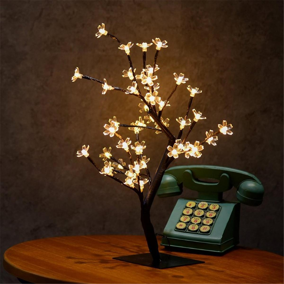3 6w 48 Heads Led Table Lamp Cherry Blossom Tree Night Light Home