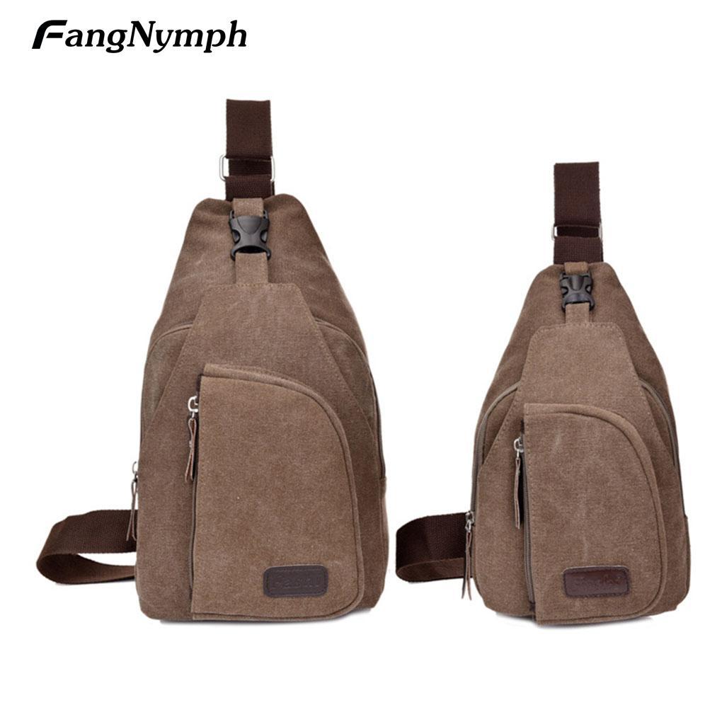 fd59932cae Vintage Mens Casual Canvas Waist Bags Unbalance Crossbody Handbags ...