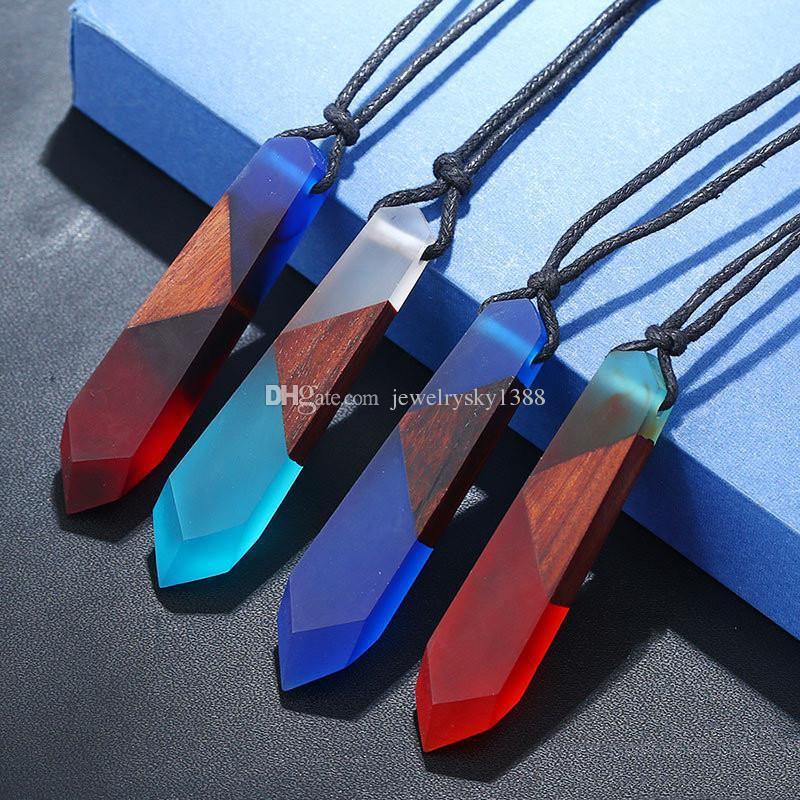 Nueva moda de cuero cuerda cadena hecha a mano Vintage resina madera geométrica colgante collar para mujeres hombres