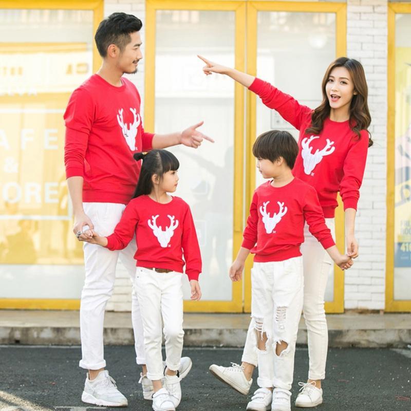 Família Roupas Combinando Inverno Camisola de Inverno Bonito Dos Cervos Crianças Roupas de Criança Adicionar Lã Quente Família Vestir YL13