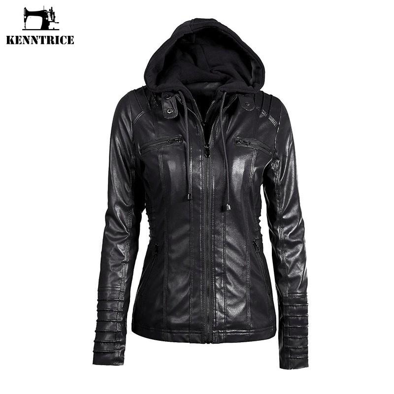 KENNTRICE Hoodie Leather Jacket Women Black Leather Hooded Jacket Front  Pocket Slim Fit Ladies  Jackets UK 2019 From Feiyancao a511d9d15cca