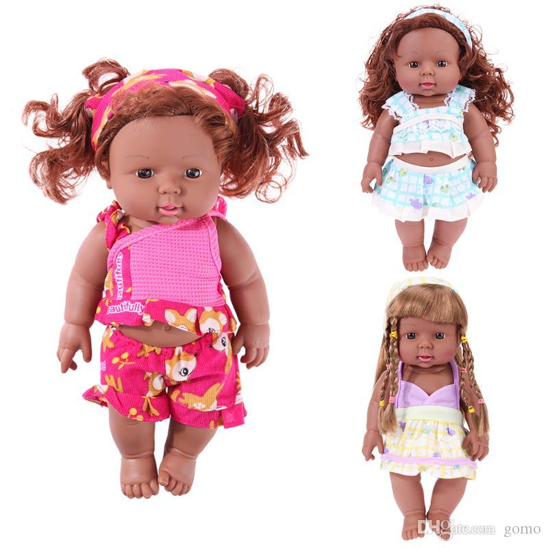 Réaliste Poupée Cadeau Vêtements Enfants Fille Jouet 30 Cm Africain D Anniversaire Bébé Changer Simulation RLjcA3qS45
