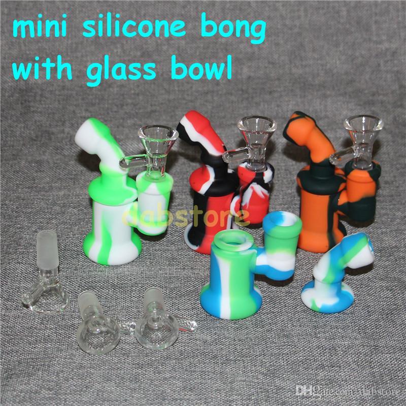 Уникальный дизайн Силиконовая нефтяная вышка водопровод курительная трубка бонг многоразовые сигареты ручной трубы со стеклянной чашей 10 цветов