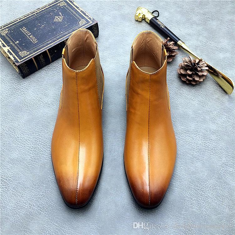 cb43b0fe405 Compre Botas De Botines De Cuero Genuino Para Hombre Zapatos De Tacón Alto  Martin Boots De Color Negro Italiano Italiano Slip On Vestido De Moda  Zapatos De ...