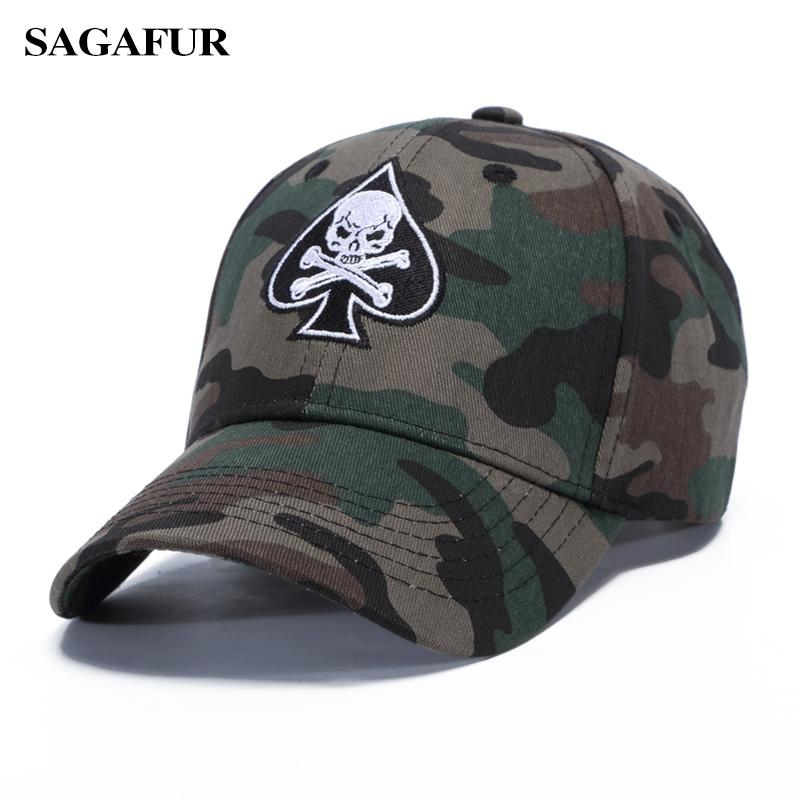 SAGAFUR Skull In Spades Shape Girls Hat Camouflage Color Baseball Hats Boy Summer New Design Outdoor Casual BOHO Male Caps