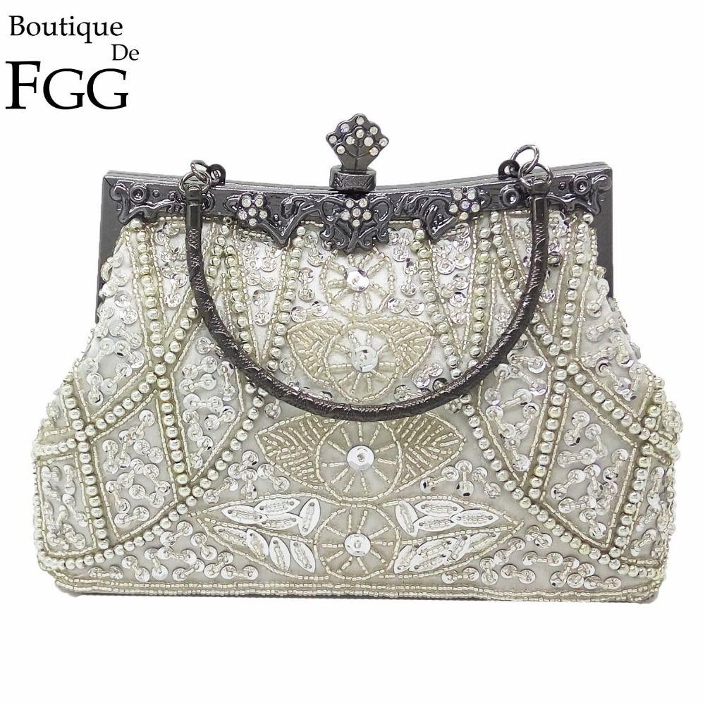 Boutique De FGG Vintage Gunmetal Chinese Style Women Silver Beaded Purse  Metal Frame Evening Wedding Party Handbag Clutch Bag Y18103004 Name Brand  Purses ... d32e4363ff8e1