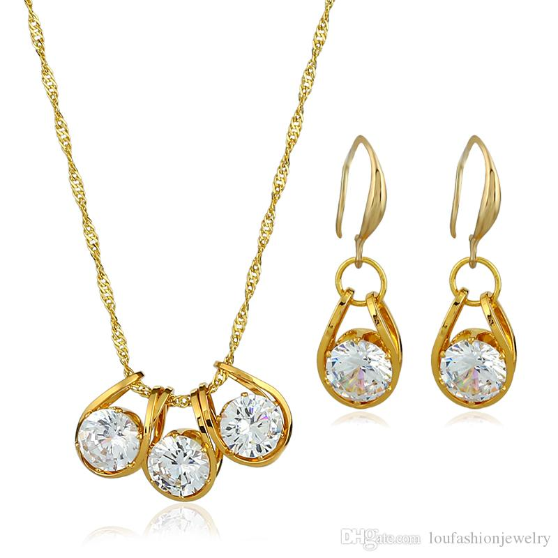 2eeb32aa4cf7 2019 2018 Hot Sale Gold Plated Bling Zirconia Earrings And Necklace Jewelry  Set For Women And Girl From Loufashionjewelry