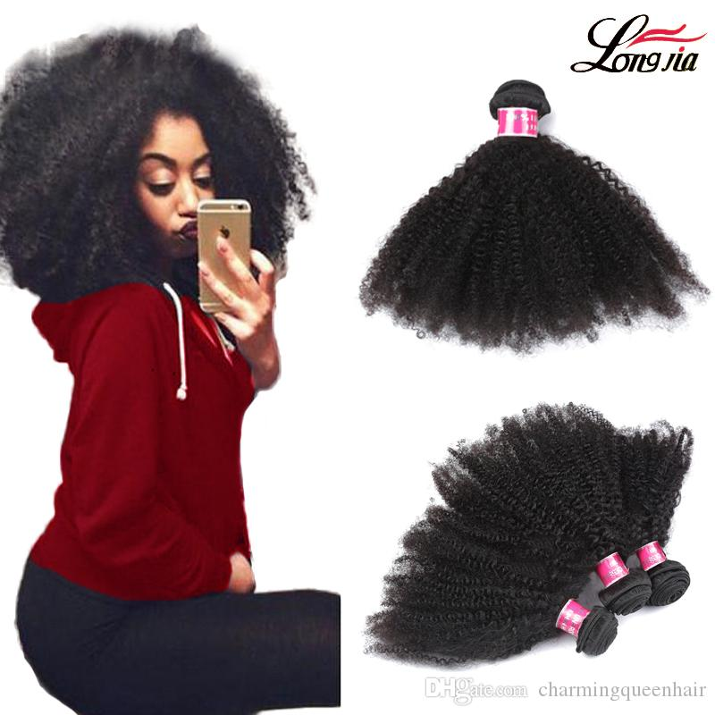 "8A Unprocessed Brazilian Human Hair Weave Afro Kinky Curly Human Hair 3Pcs/Lot 8""-20"" Natural Color Human Hair Extensions Free Shipping"