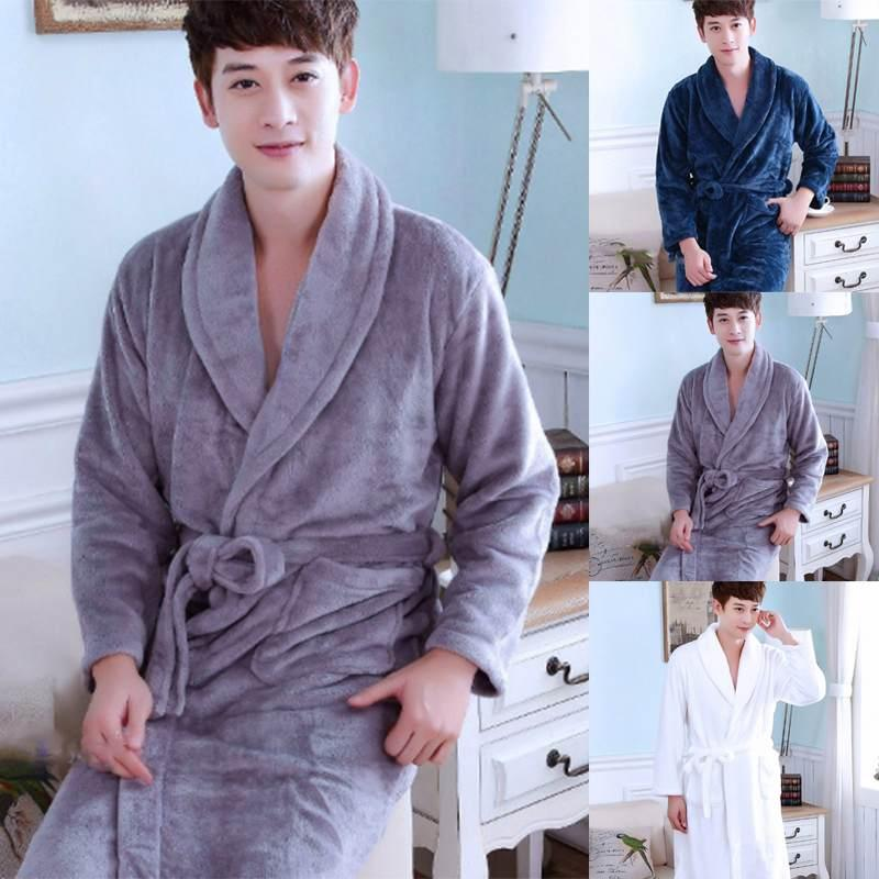 e43d3f96e3 2018 Men s Bathrobe Warm Flannel Pajamas Robe Long Sleeve Lapel Men ...