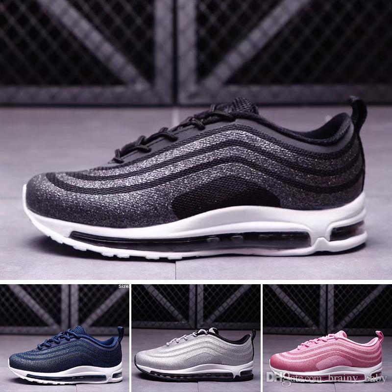 new product 22fc4 32ea3 Acheter Nike Air Max 97 Livraison Gratuite 2018 Nouveau Pas Cher Enfants  Athlétique Maxes Garçons Et Filles 97 Sneakers Enfants Sport Chaussures De  Course ...