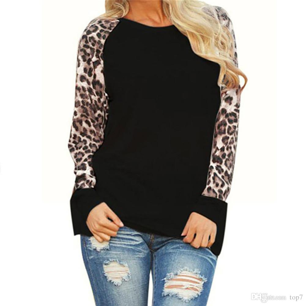 e2f50574720 2019 Plus Size 5XL Womens Tops And Blouses Leopard Print O Neck Long Sleeve  Tee Shirts Women S Clothing Camisa Feminina From Top7