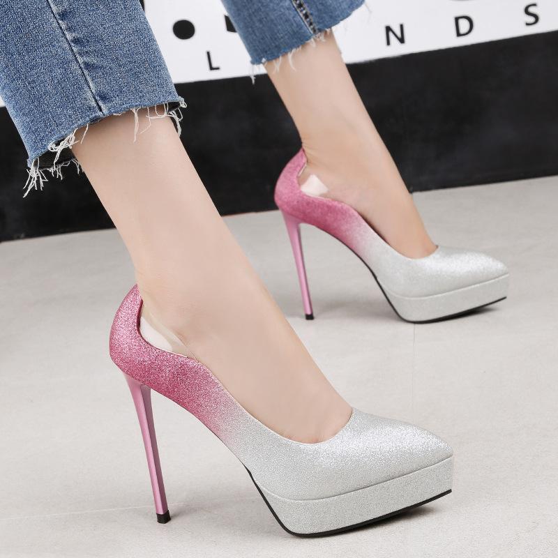 Elegant Bridal Wedding Pumps Shoes Fashion Gradient Platform Dress ... 05b783039eb8