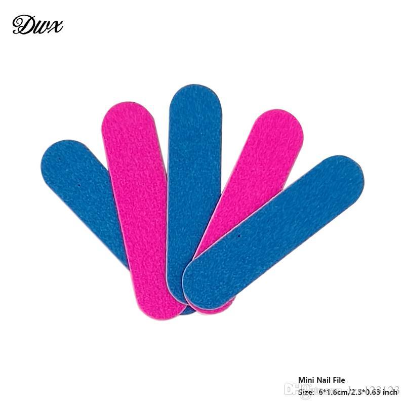 / lotto Mini Nail File blu e rosa Carta vetrata di legno Strumenti Nail Art Emery bordo