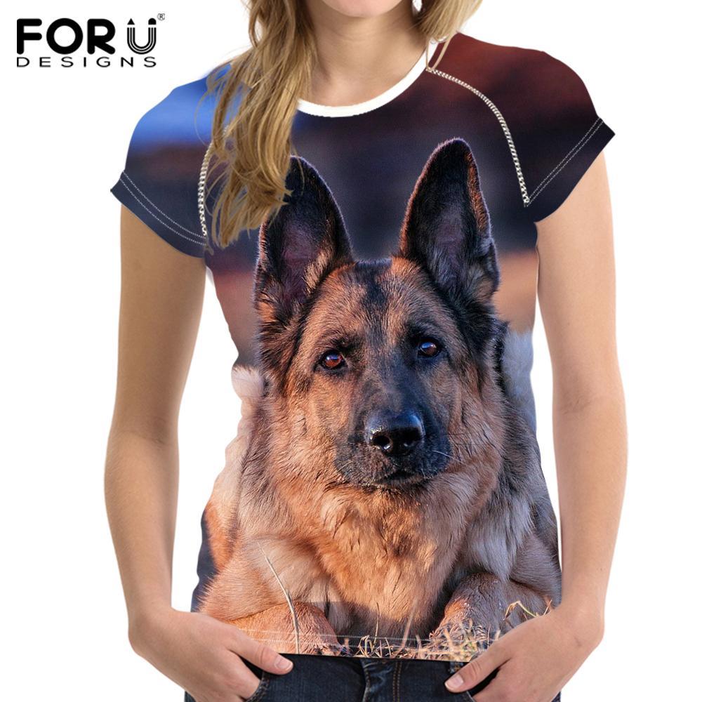 FORUDESIGNS German Shepherd Printed T-Shirt Women Kawaii Dog 3D Printing t  shirt for Ladies Funny Summer Women t-shirt Big Size