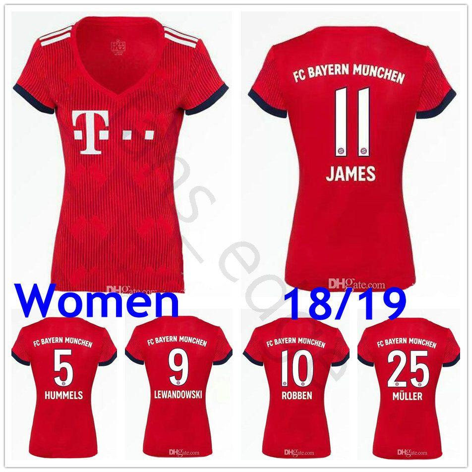 competitive price 1e2df 6c1c3 Women Bayern Soccer Jerseys KIMMICH TOLISSO ALABA JAMES LEWANDOWSKI ROBBEN  MULLER BOATENG VIDAL Munich Custom Ladies Girls Football Shirts