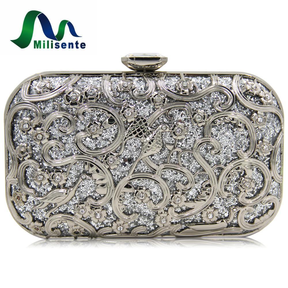 Milisente Ladies Designer Clutches Women Bag Metal Gold Flower Pattern Hard  Case Evening Clutch Bags Diamond Closure Purses Cute Purses Shoulder Bags  For ... 5dbe0f690